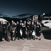 Band and crew take flight after the last show.  Photo by CKP