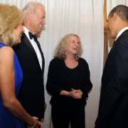 Sharing a laugh with Barak Obama and the Bidens. Photo by Ruthi David