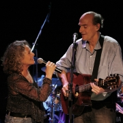 Carole & James harmonize at the Troubadour in 2007.  Photo by Elissa Kline