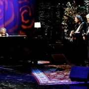 Carole King performs with Gary Burr and Rudy Guess on Tavis Smiley. Photo by Van Evers