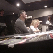 Listening to a playback with Humberto Gatica. Photo by Rudy Guess